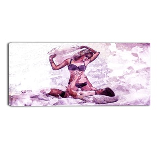 Design Art 'Man and Wife Pillow Fight' 32 x 16-inch Sensual Canvas Art Print