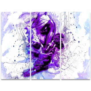 Design Art 'Purple Abstract Embrace' 36 x 28-inch 3-panel Sensual Canvas Art Print