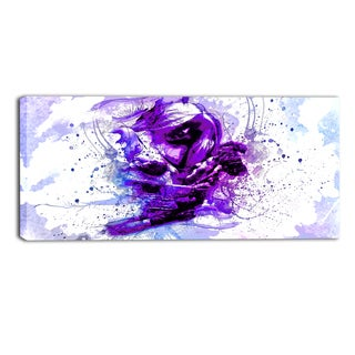 Design Art 'Purple Abstract Embrace' 32 x 16-inch Sensual Canvas Art Print