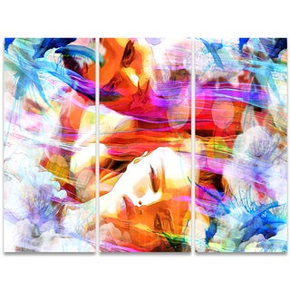 Design Art 'Sweet Dreams My Love' 36 x 28-inch 3-panel Sensual Canvas Art Print