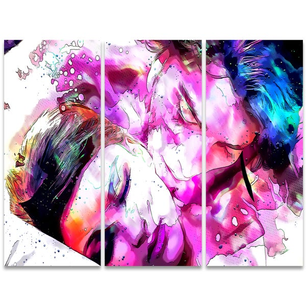 Design Art 'Sweet Dreams Together' 36 x 28-inch 3-panel Sensual Canvas Art Print