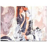 Design Art 'Romance on a Chopper' 36 x 28-inch 3-panel Sensual Canvas Art Print