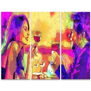 Design Art 'Cheers' 36 x 28-inch 3-panel Sensual Canvas Art Print