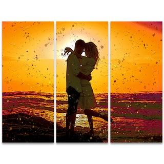 Design Art 'Head to Head' 36 x 28-inch 3-panel Sensual Canvas Art Print