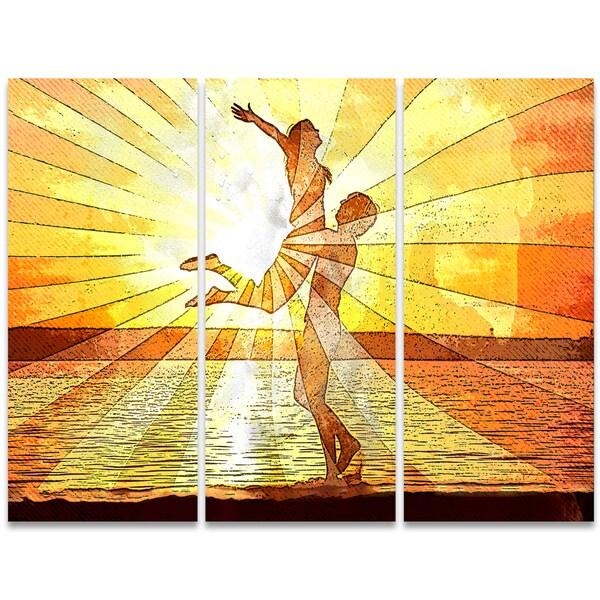 Design Art 'Rays of Light' 36 x 28-inch 3-panel Sensual Canvas Art Print
