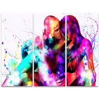 Design Art 'Colorful Embrace' 36 x 28-inch 3-panel Sensual Canvas Art Print