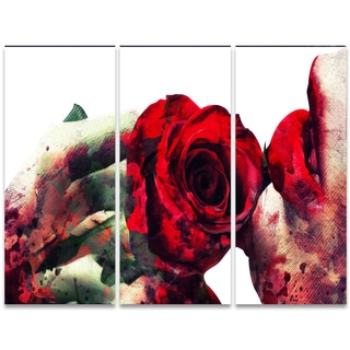 Design Art 'Lips and Roses' 36 x 28-inch 3-panel Sensual Canvas Art Print