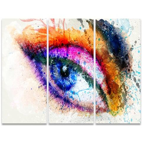 Design Art 'Eyes Are the Window' 36 x 28-inch 3-panel Sensual Canvas Art Print