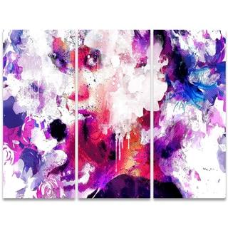 Design Art 'Abstract Beauty' 36 x 28-inch 3-panel Sensual Canvas Art Print