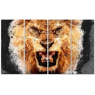 Design Art 'Be Fierce' 48 x 28-inch 4-panel Lion Canvas Art Print