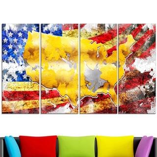 Design Art 'USA Map on Flag' 48 x 28-inch 4-panel Canvas Art Print