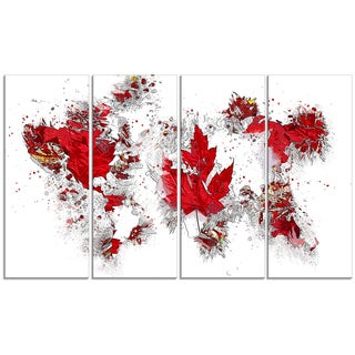 Design Art 'Canadian Flag' 48 x 24-inch 4-panel Map Canvas Art Print