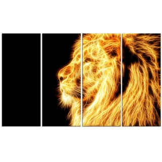 Design Art 'On the Watch' 48 x 28-inch 4-panel Yellow Lion Canvas Art Print