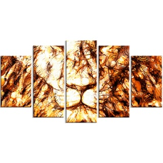 Design Art 'Wisdom in His Eyes' 60 x 32-inch 5-panel Lion Canvas Art Print
