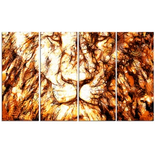 Design Art 'Wisdom in His Eyes' 48 x 28-inch 4-panel Lion Canvas Art Print