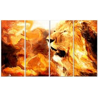 Design Art 'Roar in the Wild' 48 x 28-inch 4-panel Lion Canvas Art Print