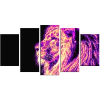 Design Art 'On the Watch' 60 x 32-inch 5-panel Purple Lion Canvas Art Print