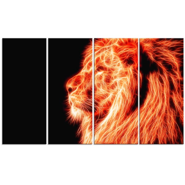 Design Art 'On the Watch' 48 x 28-inch 4-panel Red Lion Canvas Art Print