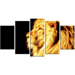 Design Art 'On the Watch' 60 x 32-inch 5-panel Yellow Lion Canvas Art Print