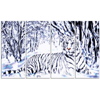 Design Art 'White Tiger White Forest' 48 x 28-inch 4-panel Canvas Art Print