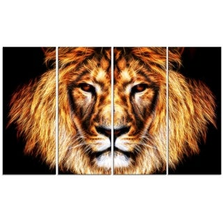 Design Art 'Hear Him Roar' 48 x 28-inch 4-panel Lion Canvas Art Print