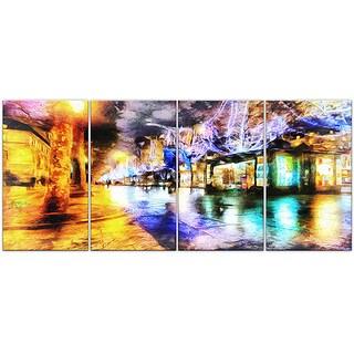 Design Art 'Streets of Paris' 48 x 28-inch 4-panel Cityscape Canvas Art Print