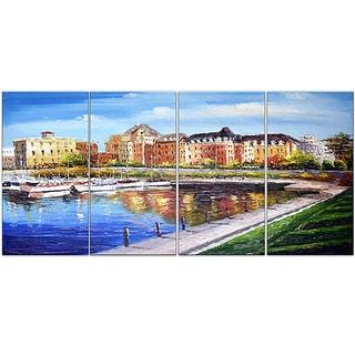 Design Art 'Victoria Cityscape' 48 x 28-inch 4-panel Canvas Art Print