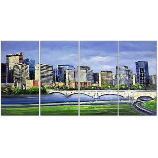 Design Art 'Calgary Cityscape' 48 x 28-inch 4-panel Canvas Art Print