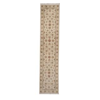 Herat Oriental Pakistani Hand-knotted Tabriz Ivory/ Rose Wool Rug (2'7 x 12')