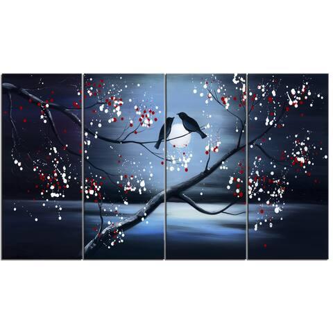 Design Art 'Together Forever Bird' 48 x 28-inch 4-panel Canvas Art Print
