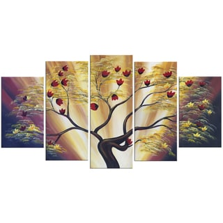 Design Art 'Modern Floral' 60 x 32-inch 5-panel Canvas Art Print