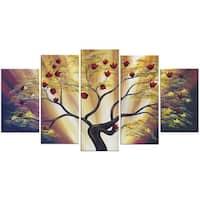 Design Art 'Modern Floral' 60 x 32-inch 5-panel Canvas Art Print