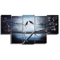 Design Art 'Together Forever' 60 x 32-inch 5-panel Birds Canvas Art Print
