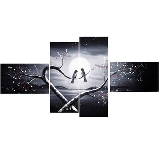 Design Art 'Love Birds in Love' 60 x 32-inch 4-panel Canvas Art Print