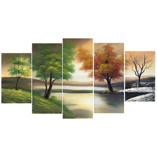 Design Art 'Changing Seasons on the Lake' 60 x 32-inch 5-panel Canvas Art Prin