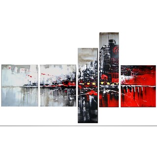 Design Art 'Red & Black Cityscape' 66 x 36-inch 5-panel Canvas Art Print