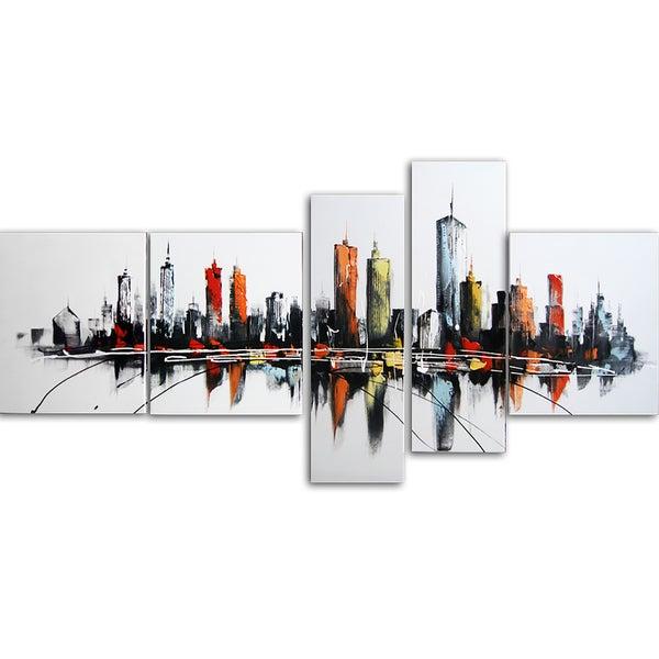 Design Art 'Colors of the City' 66 x 36-inch 5-panel Canvas Art Print