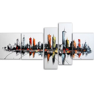 Design Art 'Colors of the City' 66 x 36-inch 5-panel Canvas Art Print
