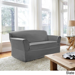 CoverWorks Tara Twill 1-Piece Relaxed Fit Loveseat Slipcover