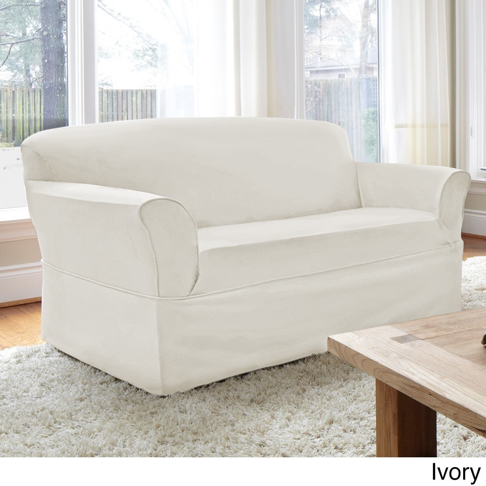 CoverWorks Tara Twill 1 Piece Relaxed Fit Loveseat