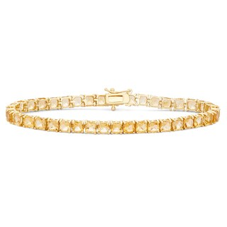 Gioelli 14k Goldplated Sterling Silver Cushion Citrine Gemstone Bracelet