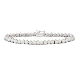 Gioelli Sterling Silver Created Opal Gemstone Tennis Bracelet