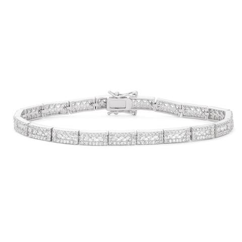 Gioelli Sterling Silver Framed Created White Sapphire Gemstone Tennis Bracelet