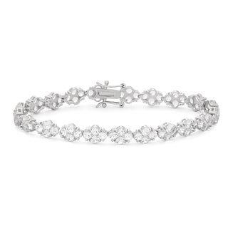 Gioelli Sterling Silver Cluster Round Created White Sapphire Tennis Bracelet