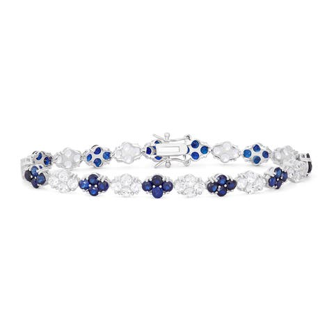 Gioelli Sterling Silver Cluster Round Created Sapphire Tennis Bracelet