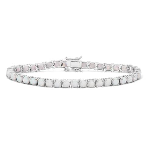 Gioelli Sterling Silver Cushion Created Opal Gemstone Bracelet