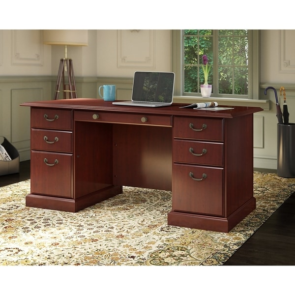 Kathy Ireland Office Bennington Manager X27 S Desk In Harvest Cherry
