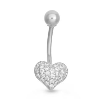 Gioelli 10k White Gold Pave Cubic Zirconia Heart Belly Ring
