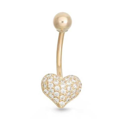Gioelli 10k Yellow Gold Pave Cubic Zirconia Heart Belly Ring