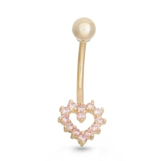 Gioelli 10k Yellow Gold Pink Cubic Zirconia Heart Belly Ring